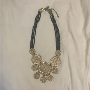 Blue and silver Anthropologie statement necklace